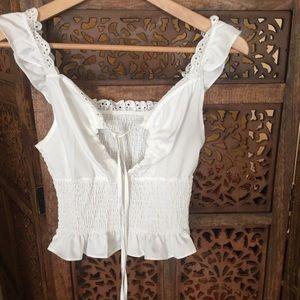NEW Boutique Brand White Crop Feminine Blouse S